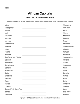 List Of Countries In Africa And Their Capital Cities #1
