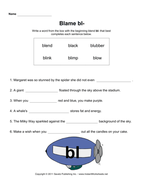 Bl Sound Phonics — Instant Worksheets