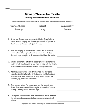 Character Traits Elem — Instant Worksheets