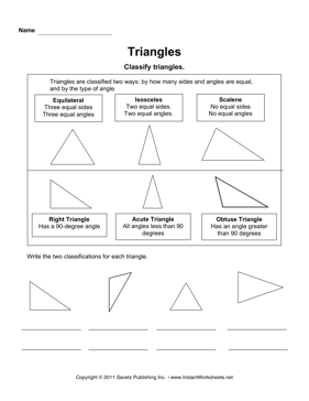Classifying Triangles — Instant Worksheets