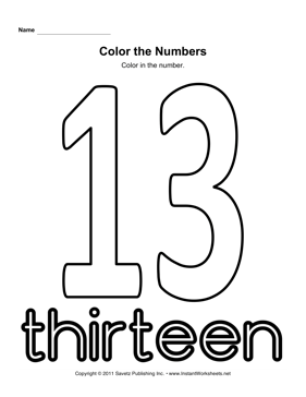 Color Number 13 — Instant Worksheets