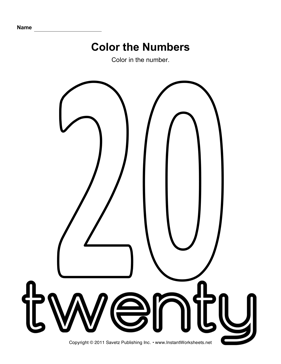 Color Number 20 — Instant Worksheets