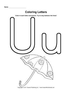 u is for umbrella coloring page  Coloring U