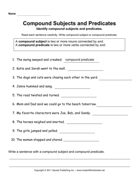 Compound Subjects Predicates — Instant Worksheets