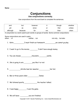 Conjunctions worksheets for grade 3 with answers
