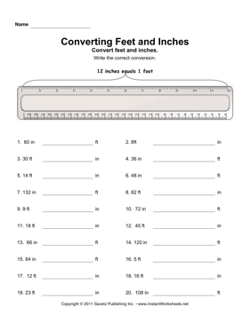 Convert Inches Feet — Instant Worksheets