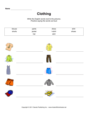 ESL Clothing 1 — Instant Worksheets