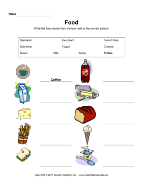 ESL Food Vocabulary 1 — Instant Worksheets