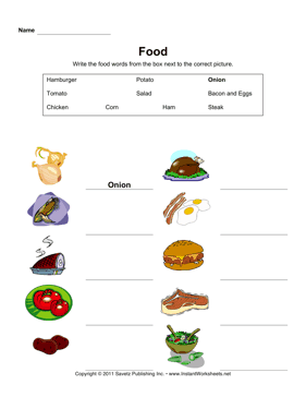 ESL Food Vocabulary 2 — Instant Worksheets