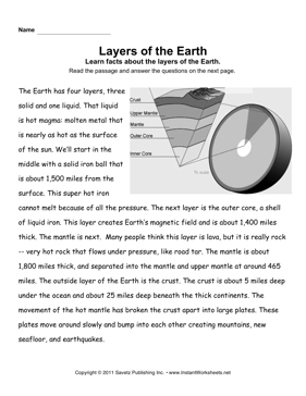 Earth Layers Comprehension — Instant Worksheets