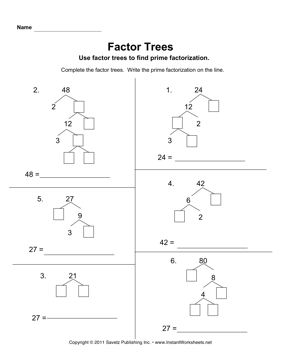 Factor tree worksheets with answers