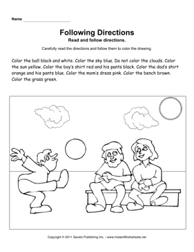 Following Directions — Instant Worksheets