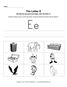 Letter E Pictures — Instant Worksheets