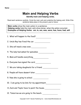 Worksheets Main And Helping Verbs Worksheet main verbs and helping worksheet fioradesignstudio instant worksheets