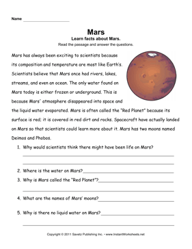 Mars Comprehension — Instant Worksheets