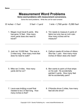 Measurement Word Problems — Instant Worksheets