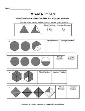 Mixed Numbers — Instant Worksheets
