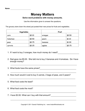 Money Word Problem Worksheets