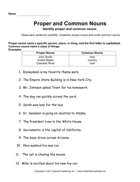 Proper Common Nouns — Instant Worksheets