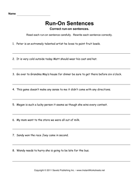 Run On Sentences — Instant Worksheets