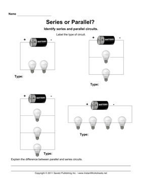 Series Parallel Circuits — Instant Worksheets