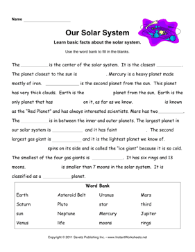 solar system worksheets for kids printables car tuning Car Tuning