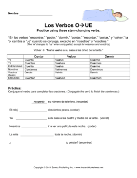 Spanish_O_UE_Verbs Verb To Be Worksheets Doc on being verbs worksheets, to be past tense worksheets, printable verbs worksheets, subject pronouns worksheets, the crucible worksheets, present simple worksheets,