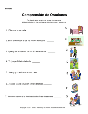 Elementary worksheets in spanish