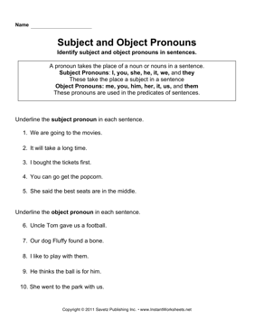 Printables Pronoun Case Worksheet ensure that pronouns are in the proper case lessons tes teach subject object instant worksheets
