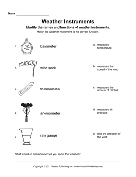 Weather Worksheet New 996 Weather Instruments Worksheet