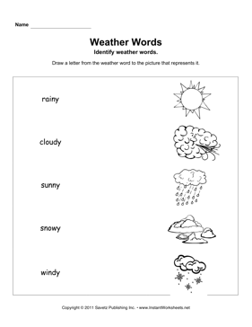Weather Words Primary — Instant Worksheets