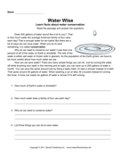 Water Conservation Comprehension